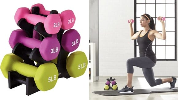 The weights come with an easy-to-assemble stand, too.