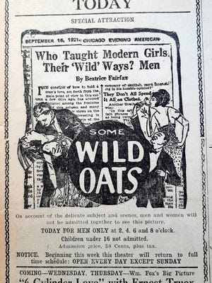 The controversial movie, 'Some Wild Oats' was shown for men only one day during the summer of 1924 at Clinton's Globe Theater.