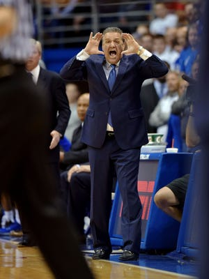 Jan 30, 2016; Lawrence, KS, USA; Kentucky Wildcats head coach John Calipari reacts to play during the first half  against the Kansas Jayhawks at Allen Fieldhouse.