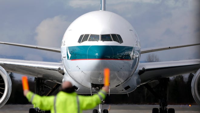 A Cathay Pacific Boeing 777-300 at Paine Field in Everett, Wash., on Feb. 5, 2013.