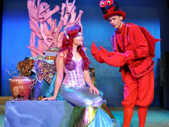 "Ariel (Colby Ann Smith) is given advice from her crustacean friend, Sebastian (Nate Jones) in the Young Actors Theatre fall 2017 production of ""Disney's The Little Mermaid."""