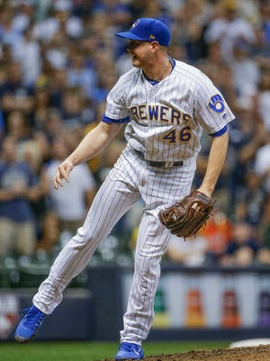 Brewers closer Corey Knebel leads major-league relievers with 68 strikeouts and has allowed just three of 13 inherited runners to score this season.