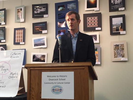Josh Bundick, Onancock Town Council candidate, speaks at a forum at Historic Onancock School on Thursday, April 19, 2018.