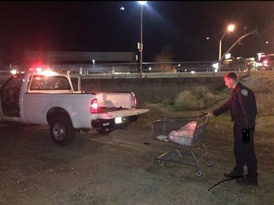 Officers retrieved 20 shopping carts on their Friday night patrol.