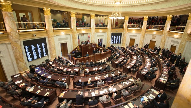 In this photo taken in Little Rock, Tuesday, Jan. 10, 2017 The Arkansas Legislature meets in joint session.
