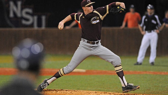 Junior Brayden Bouchey struck out a career-high 12 batters and allowed just one hit and two total runs in seven innings in ULM's 5-4 loss to Appalachian State.