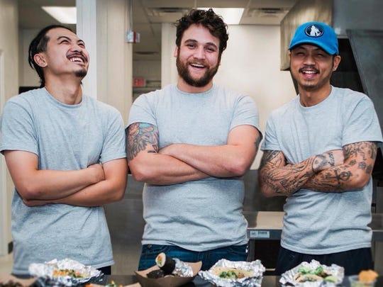 Chino Loco Taqueria chefs are Scott Yuen (left), Jake Voorheis, and Justin Yuen.