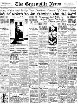 The front page of The Greenville News on Jan 31, 1933.