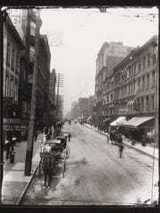 """Fourth and Race Streets,"" gelatin silver contact prints, 2013, from glass-plate negative, 1888 or 1889. Collection of Mike Hoeting"