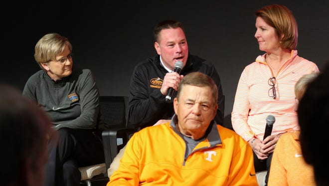 Tennessee Volunteers head football coach Butch Jones speaks during the joint head coach press conference at Brenda Lawson Athletic Center.