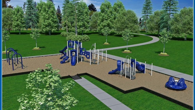 A revised drawing shows what Centerville's park will look like when Phase II of the playground project is complete.