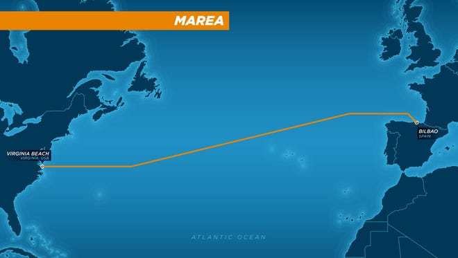 The MAREA undersea cable between Virginia and Spain. Microsoft and Facebook are building it to enhance their data carrying capabilities.