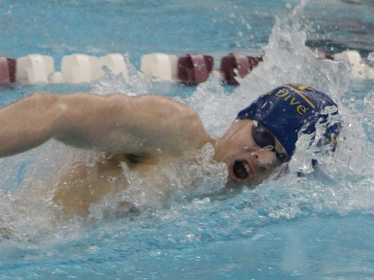 Harrison Farmington freshman Trevor Jones was a member of both freestyle relays which swam to All-State honors at the Division 1 state meet.