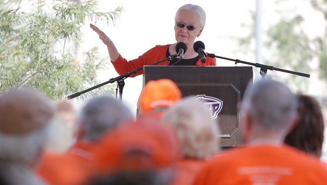 UTEP President Diana Natalicio rededicates Mining Heritage Park on campus.