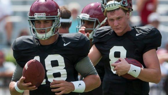 Alabama quarterbacks Cooper Bateman (18) and Alabama