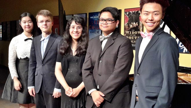 Winners at the senior level are (from left) Helen Lai, 17, and Benjamin Champion, 15, both of Idyllwild Arts Academy; Milaena Martinez, 17, of Palm Desert; Joel Oswari, 15, of Moreno Valley; and Thomas Kim, 17, of Chino Hills.