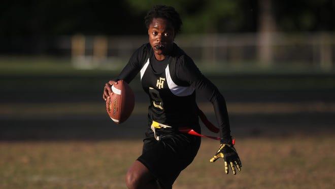 Florida High quarterback Janae Scott plays during the Flag football Subdistrict A tiebreaker - Florida High vs. Madison County