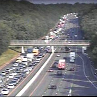 Southbound traffic near the Spring Valley toll barrier