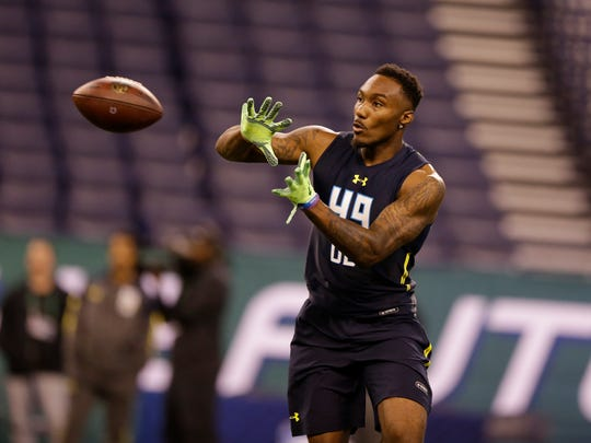 Clemson cornerback Cordrea Tankersley runs a drill at the NFL Scouting Combine in Indianapolis on Monday, March 6, 2017.