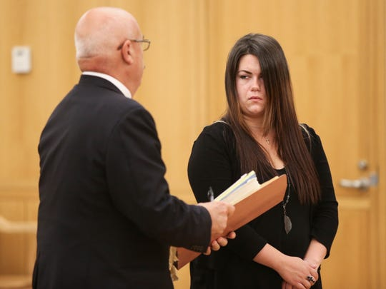 Emma Fox, right, with defense attorney Stephen Lewis stands in Westchester County Court in White Plains on Monday, Sept. 11, 2017. She pleaded not guilty to vehicular manslaughter and other charges in the death of Manhattanville College student Robbie Shartner, who was struck by a car on Westchester Avenue in White Plains on Oct. 9, 2016.