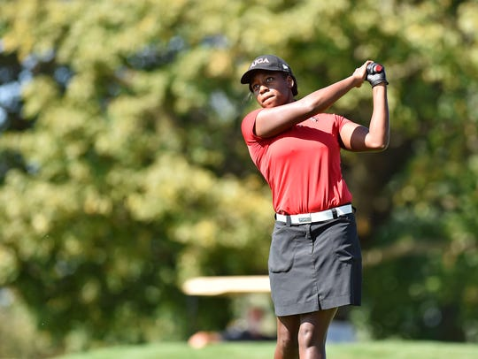 Susquehannock's Kendel Abrams tees off during the YAIAA