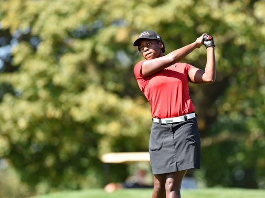 Susquehannock's Kendel Abrams tees off during the YAIAA golf team championship Wednesday, Sept. 27, 2017, at Briarwood Golf Club.