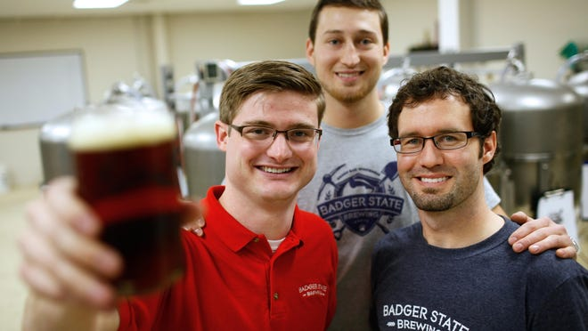 From left Mike Servi, Andrew Fabry and Sam Yanda are the trio behind Badger State Brewing Co. based in Green Bay.