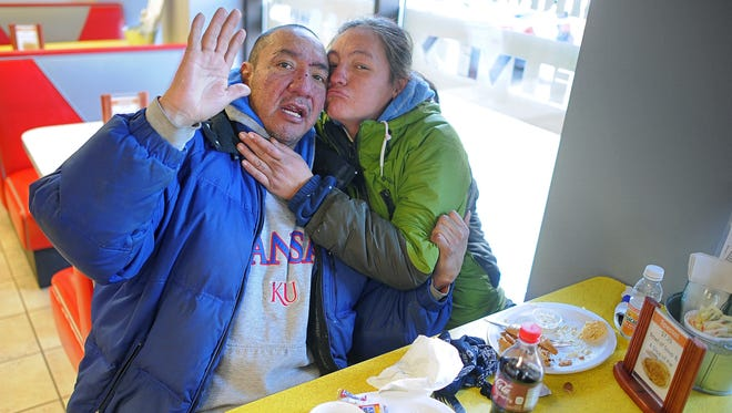 Rodney Lonnie Iron Hawk Sr. and his girlfriend Bennie Kitteaux Eagle Elk pose for a photograph Nov. 27, 2015, at The Cookie Jar in downtown Sioux Falls after reporter Jonathan Ellis bought them lunch. Iron Hawk was murdered this week outside of a hotel in Sioux Falls.
