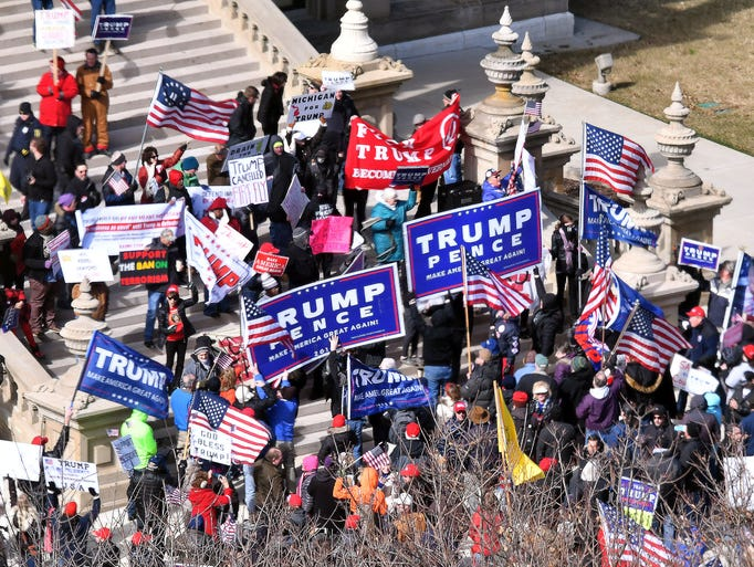 Pro-Trump and anti-Trump demonstrators converge on
