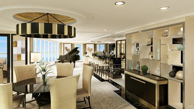 An artist's drawing of the living room area of the Regent Suite planned for for the Seven Seas Explorer.
