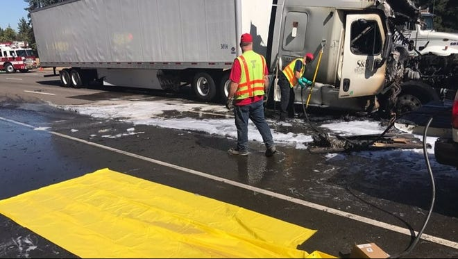 A semi-truck fire and fuel spill closed southbound lanes of traffic on Interstate 5 near Tualatin.