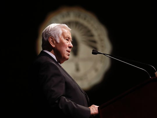 Former U.S. Senator Richard Lugar talked to high school
