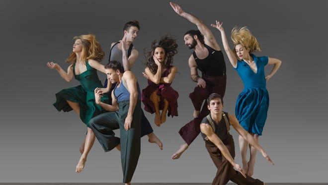 """Parsons Dance company members Geena Pacaraeu, Omar Roman de Jesus, Eoghan Dillon, Elena D'Amario, Jason MacDonald, Ian Spring, Sarah Barverman in David Parsons' """"Whirlaway."""""""