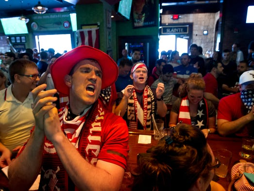 Hundreds of soccer fans celebrated team U.S.A.'s World Cup win over Ghana at the Tilted Kilt Pub & Eatery in Fort Myers Monday, June 16.