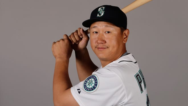 This is a 2016 photo of Dae-Ho Lee of the Seattle Mariners baseball team. This image reflects the Seattle Mariners active roster as of Saturday, Feb. 27, 2016, when this image was taken.