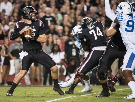 South Carolina quarterback Jake Bentley preparers to pass during the first half of an NCAA college football game against Kentucky, Saturday, Sept. 16, 2017, in Columbia, S.C. (AP Photo/Sean Rayford)