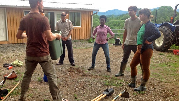 Students at the SAHC Community Farm's Farmer Education Workshop Series learn how to protect their bodies while working on the farm.