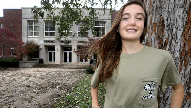 Taylor Cuneo, a sophomore from Central Magnet School, who will be attending the State Cross Country meet for the second time Saturday stands in front of her school, on  Thursday, Nov. 5, 2015.