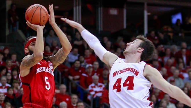 Nebraska's Terran Pittway shoots against Wisconsin's Frank Kaminsky during Thursday's game in Madison.