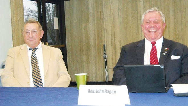 State Rep. Kent Calfee of Kingston, left, and Rep. John Ragan of Oak Ridge answered people's questions at Monday's Breakfast with the Legislators, sponsored by the League of Women Voters of Oak Ridge. Both men are Republicans.
