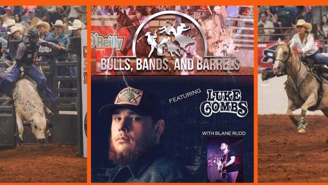 Bulls, Bands and Barrels, featuring a concert by Luke Combs, will be at Garrett Coliseum on Saturday night.