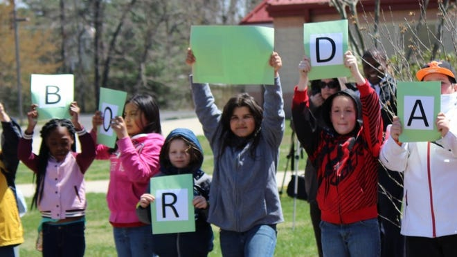 Some members of Silver Run Elementary School's Garden Club at the school's Arbor Day celebration on April 24.