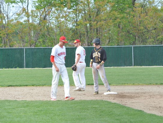 Eli Shultz on second base early in the game against
