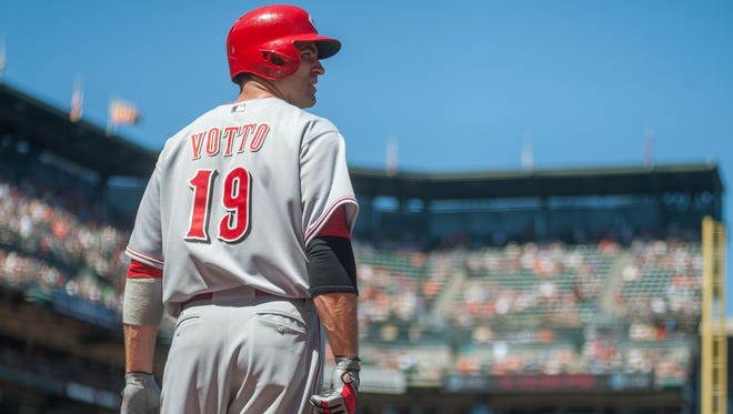 Joey Votto looks on during the ninth inning of the game against the San Francisco Giants at AT&T Park.