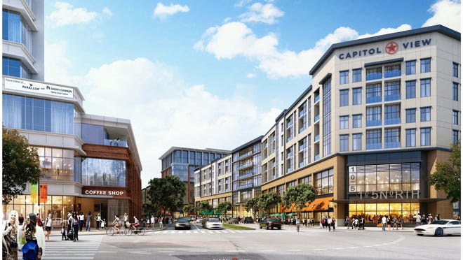 A rendering of the six-story, mixed-use building (right) planned for the former car dealership site at Capitol View. It will sit across 11th Avenue North from headquarters under construction (left) for two HCA subsidiaries.