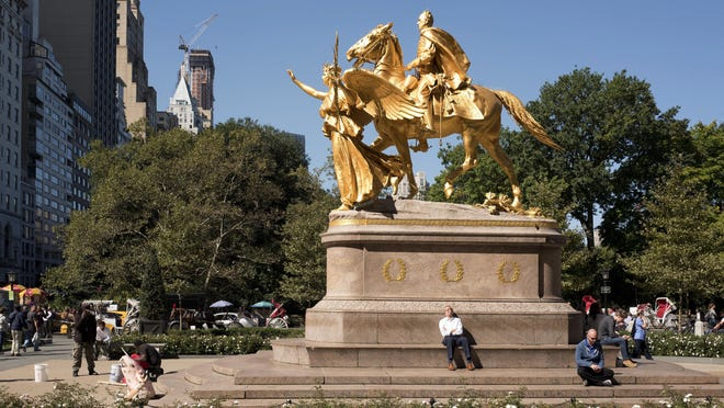 A statue of Civil War Gen. William Tecumseh Sherman sits at an entrance to New York's Central Park. Plenty of men are honored in bronze throughout the park — but no women.