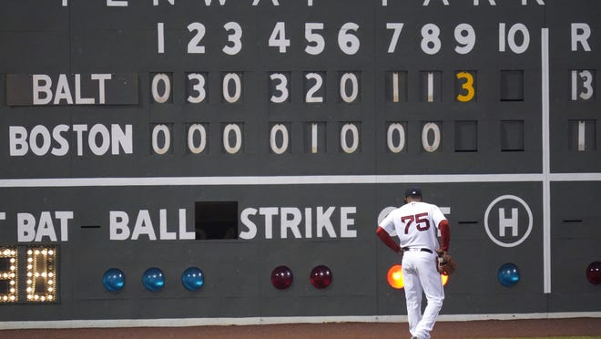 Boston Red Sox left fielder Cesar Puello walks toward the scoreboard in left field during the ninth inning of the team's baseball game against the Baltimore Orioles at Fenway Park in Boston, Thursday, Sept. 24, 2020. The Orioles defeated the Red Sox 13-1.