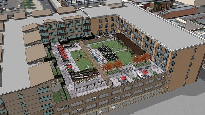 This rendering from August 2015 shows one of the numerous steps in the evolving approach to developing public parking in downtown Sioux Falls.