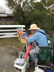 Among several Plein Air artists that captured local charm and color during the Lambertville Historical Society Autumn House Tour in October 2017 was Bob Barish.