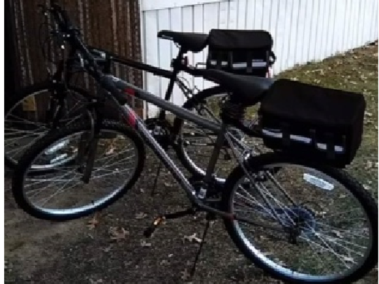 The bicycle Nathaniel Bishop took with him on May 25. It no longer has the rear rack attached.